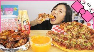 DOMINOS PIZZA + HOT WINGS w/ NEW SAMYANG SPICY FIRE MAYO SAUCE l MUKBANG