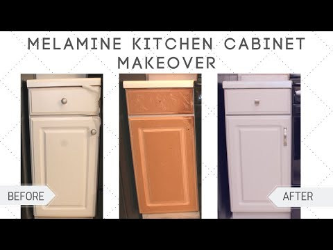 Kitchen Cabinet Makeover DIY | How To Paint Melamine Cabinets
