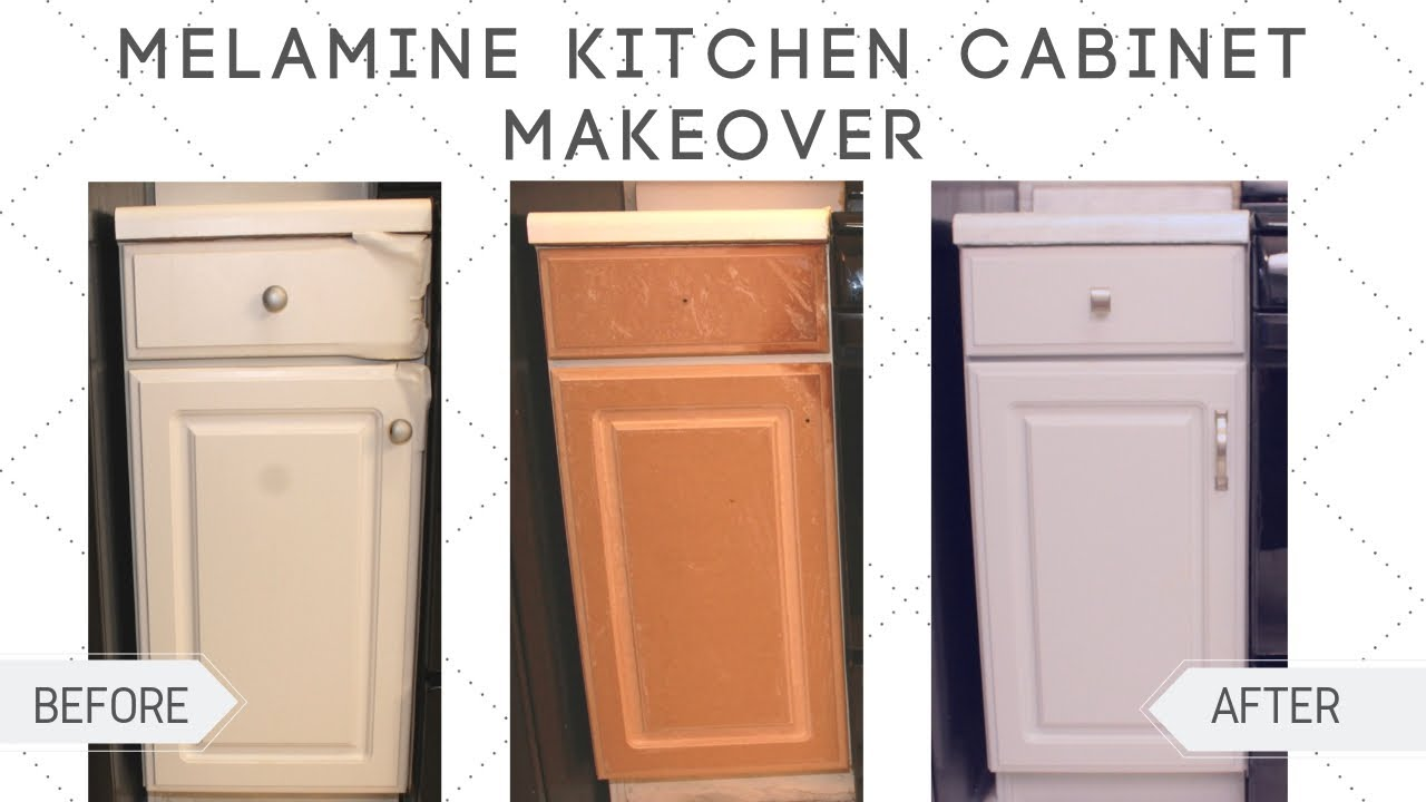 Kitchen Cabinet Makeover Diy How To Paint Melamine Cabinets