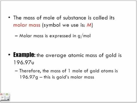 Introduction To Molar Mass And The Mole Youtube