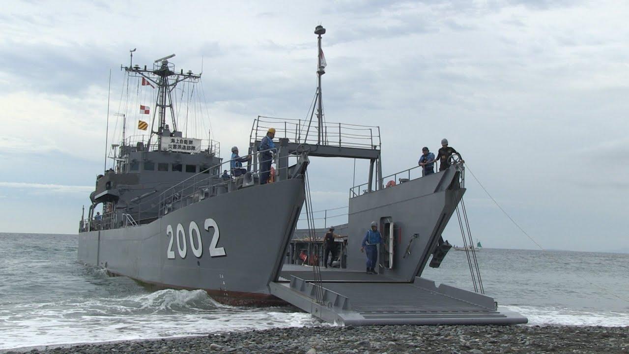 海上自衛隊】輸送艇2号の接岸訓練 - YouTube