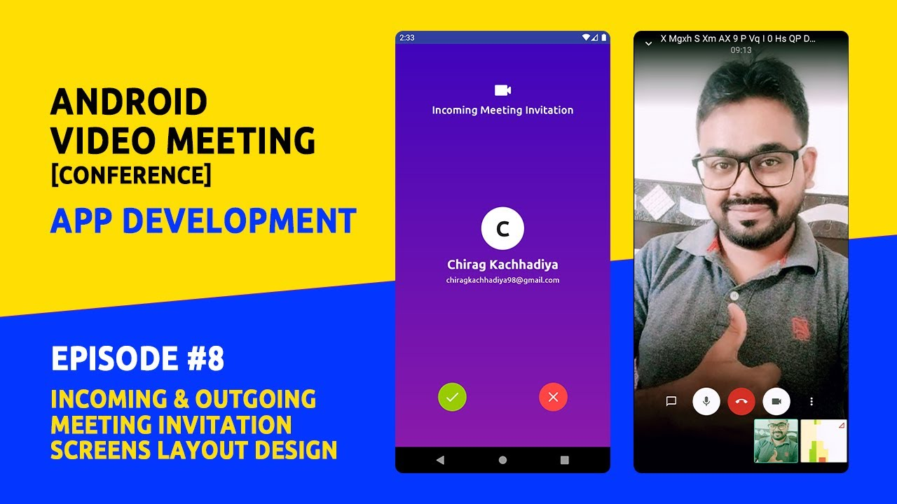 Android Video Meeting App Development - Incoming & Outgoing Invitation Screens Design - #8