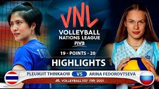 Pleumjit Thinkaow vs Arina Fedorovtseva   Thailand vs Russia   VNL 2021 (HD)