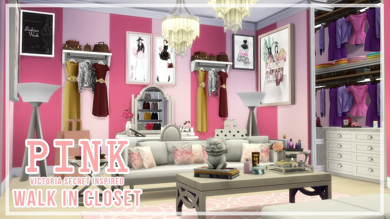 The Sims 4 Sd Build Pink Victoria Secret Inspired Walk In Closet You