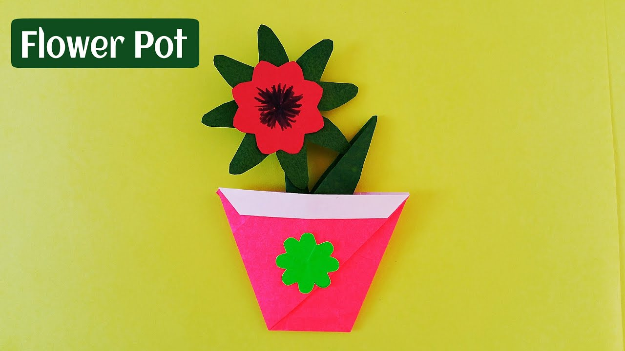 How To Make A Easy And Simple Paper Flower Pot Origami Youtube