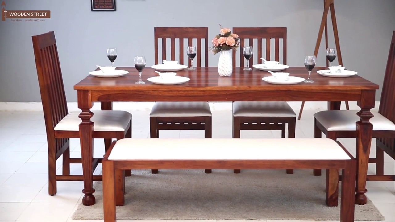 6 Seater Dining Set Shop Ariana In Honey Finish Wooden Street