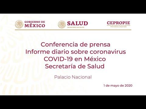 Informe diario sobre coronavirus COVID-19 en México. Secretaría de Salud. Viernes 1 de mayo, 2020.