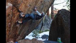 Shawn Raboutou on the first ascent of Big Z (8C+)