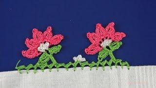 Tığ işi Beş Yapraklı Çiçek Motifli Yazma Kenarı