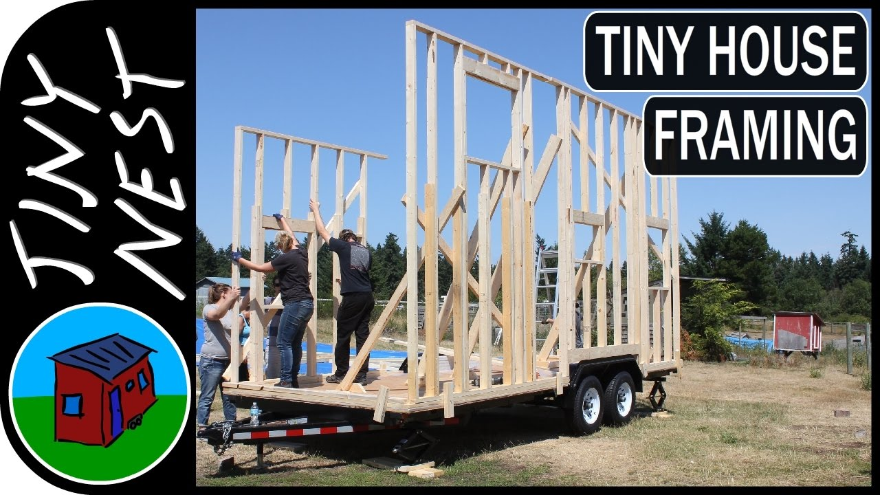 Tiny House Framing Wall Raising Ep9 Youtube - tiny house framing