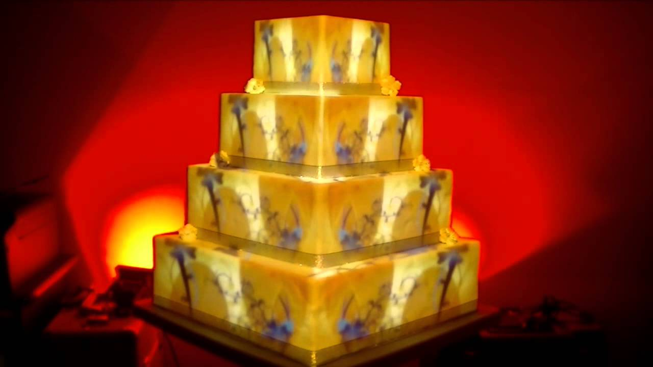 cake projection mapping for wedding - YouTube