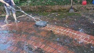 Pressure washing brick driveway - satisfying!