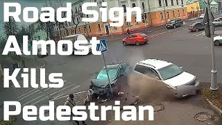 Accident - Pedestrian Almost Killed By A Road Sign
