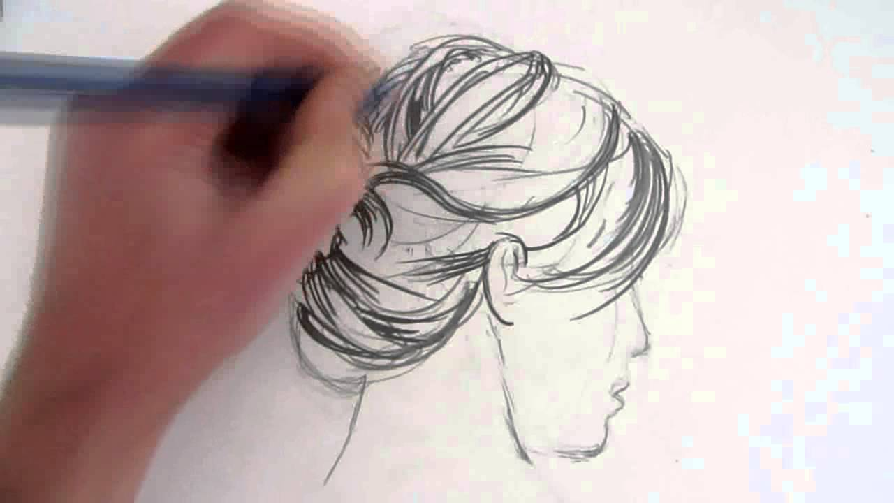 draw hair messy bun