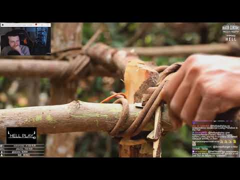 HellYeahPlay смотрит: Dig To Build Creative Underground Pool + Primitive Technology: Tiled Roof Hut