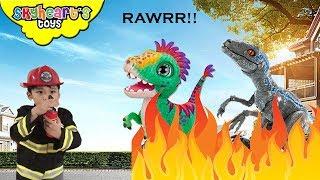 Fireman Skyheart saves Dinosaurs! Furreal and Alpha Raptor Blue Dino toys for kids