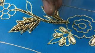 Bridal Embroidery Designer Blouse #020 - Floral work using golden beads