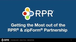 Getting the most out of the zipForm Plus & RPR Integration Partnership