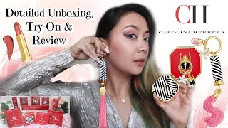 Carolina Herrera Makeup Detailed Unboxing from Harrods, Try-On & Review