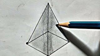 Square Based pyramid   Draw Square Based pyramid   how to draw Maths Square Based pyramid easy