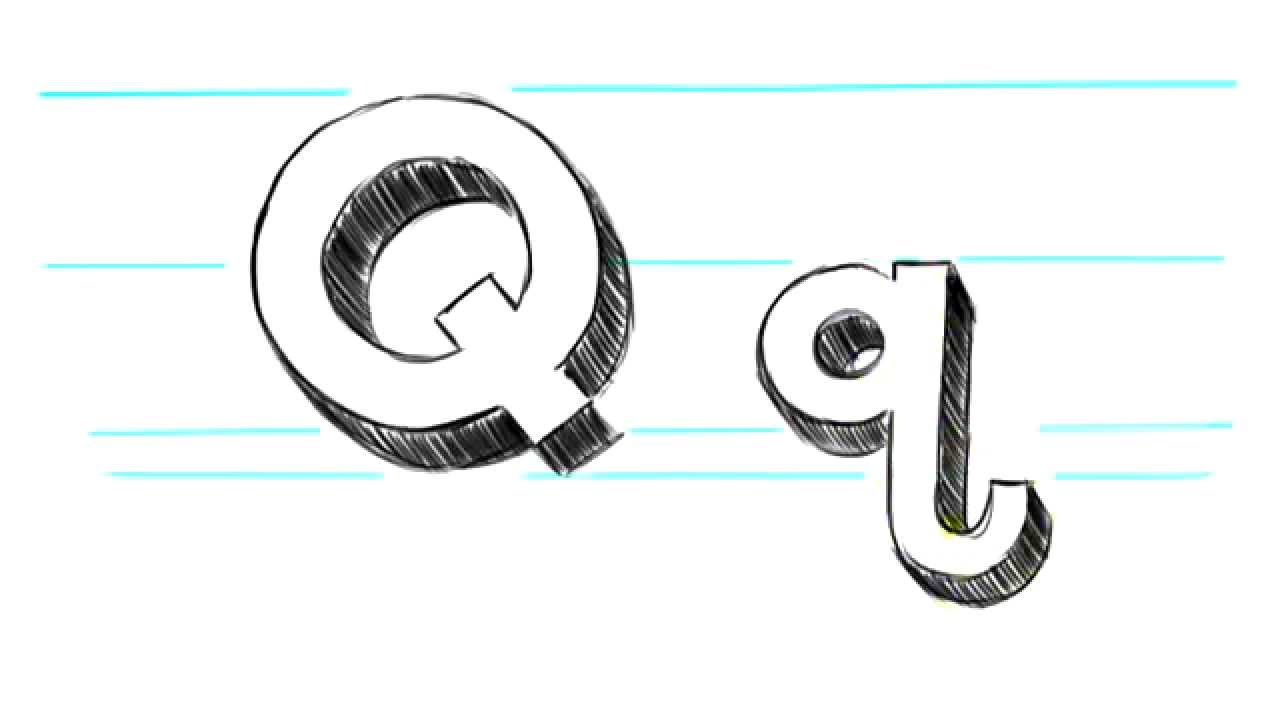 How to Draw 3D Letters Q   Uppercase Q and Lowercase q in 90