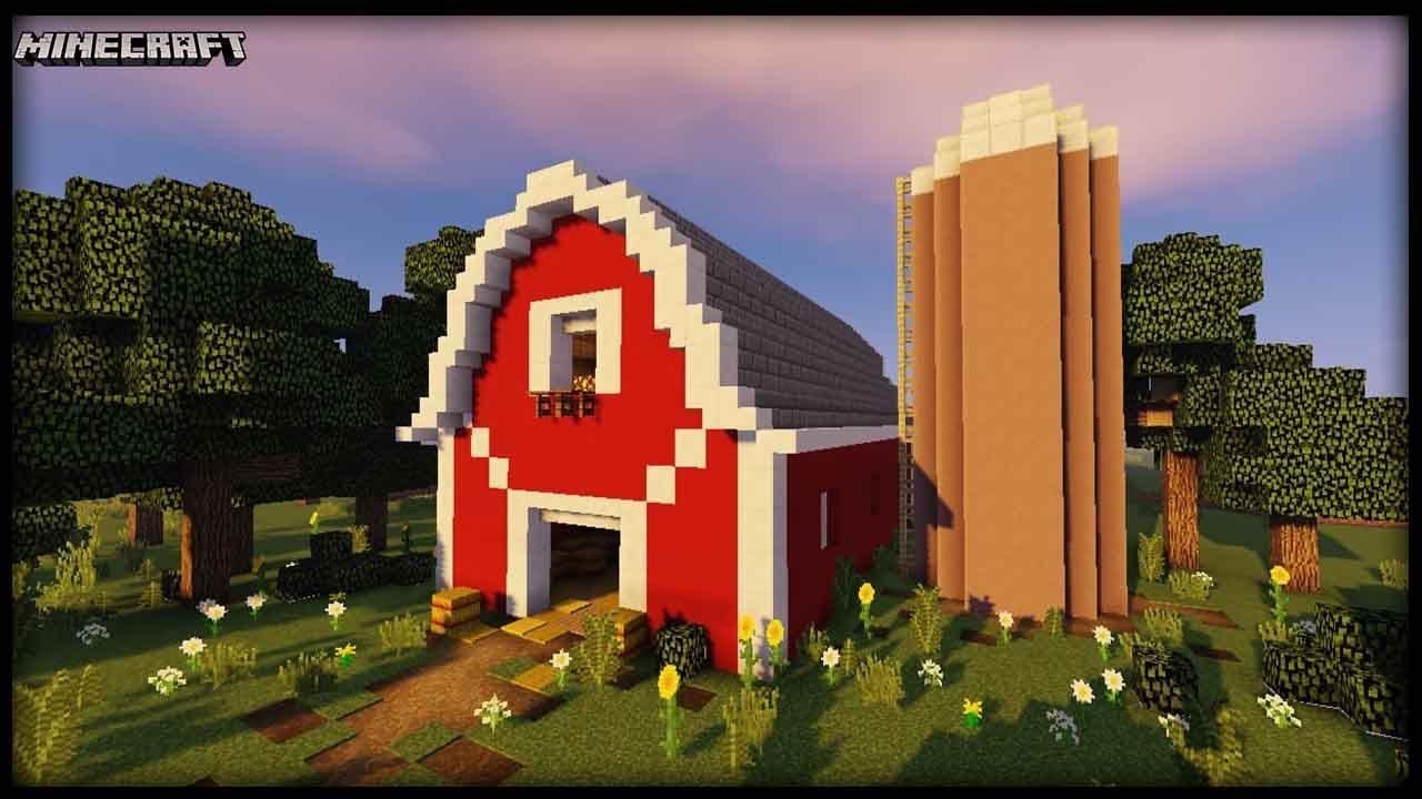 Minecraft - Barn & Silo Tutorial! - YouTube