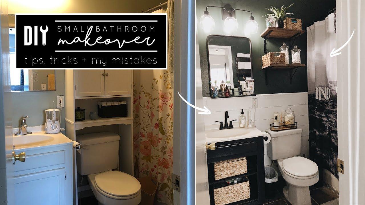 Diy Small Bathroom Makeover Youtube