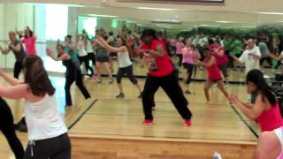 This is a fun and high energy cardio kickboxing class.