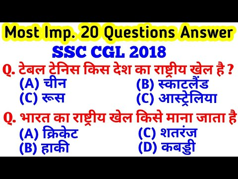 SSC CGL 2018 Tier 1 GK Questions and Answers | GK for SSC CGL Tier | GK Practice Set