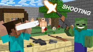 Monster School:  Shooting Challenge - Minecraft Animation