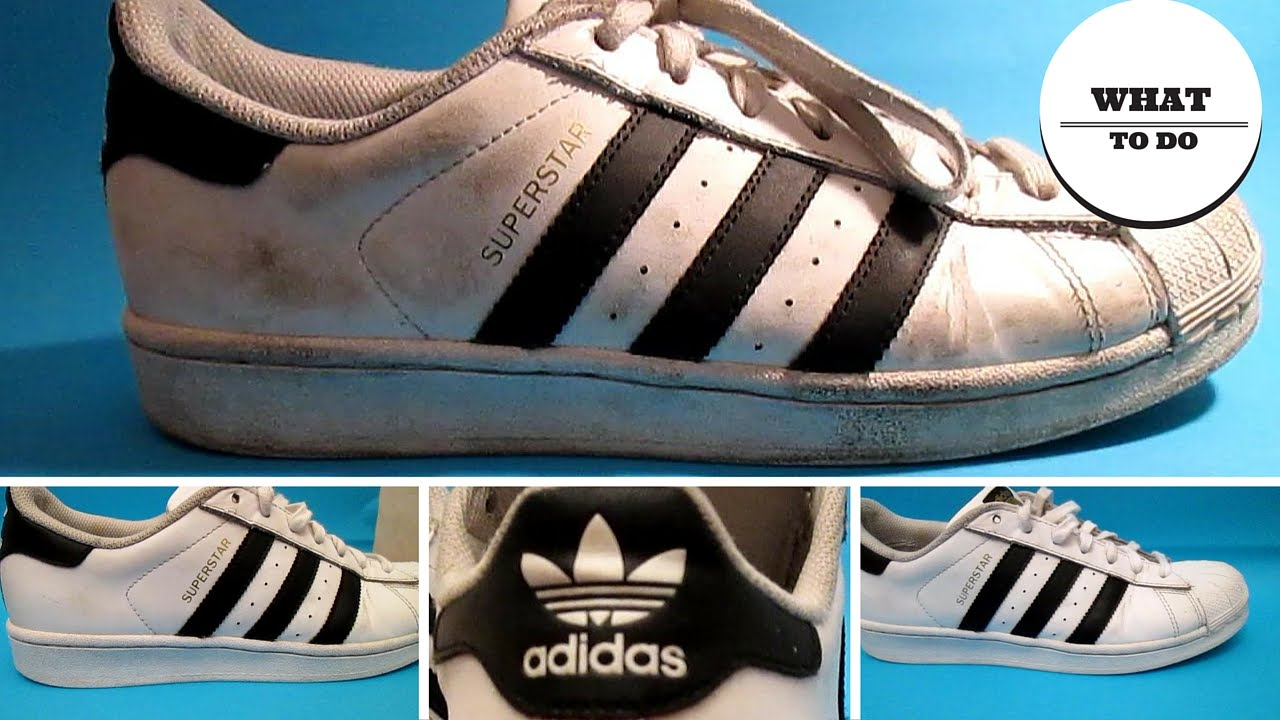huge selection of 34f0b cdbcb How To Clean Adidas SuperStar   White shoes - YouTube