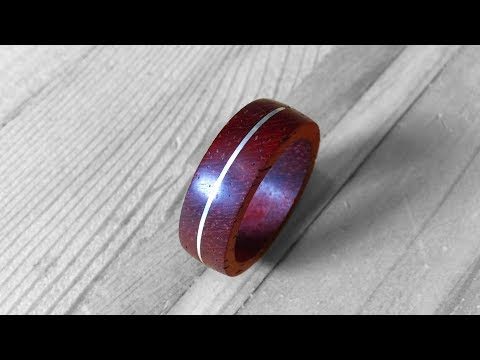 Wooden Ring - Silver Inlay - Red Rosewood