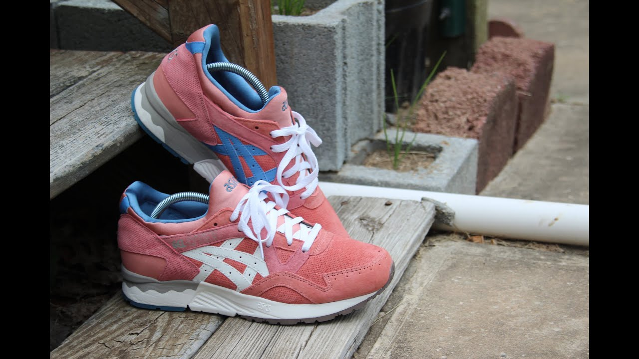 asics gel lyte 5 rose gold on feet