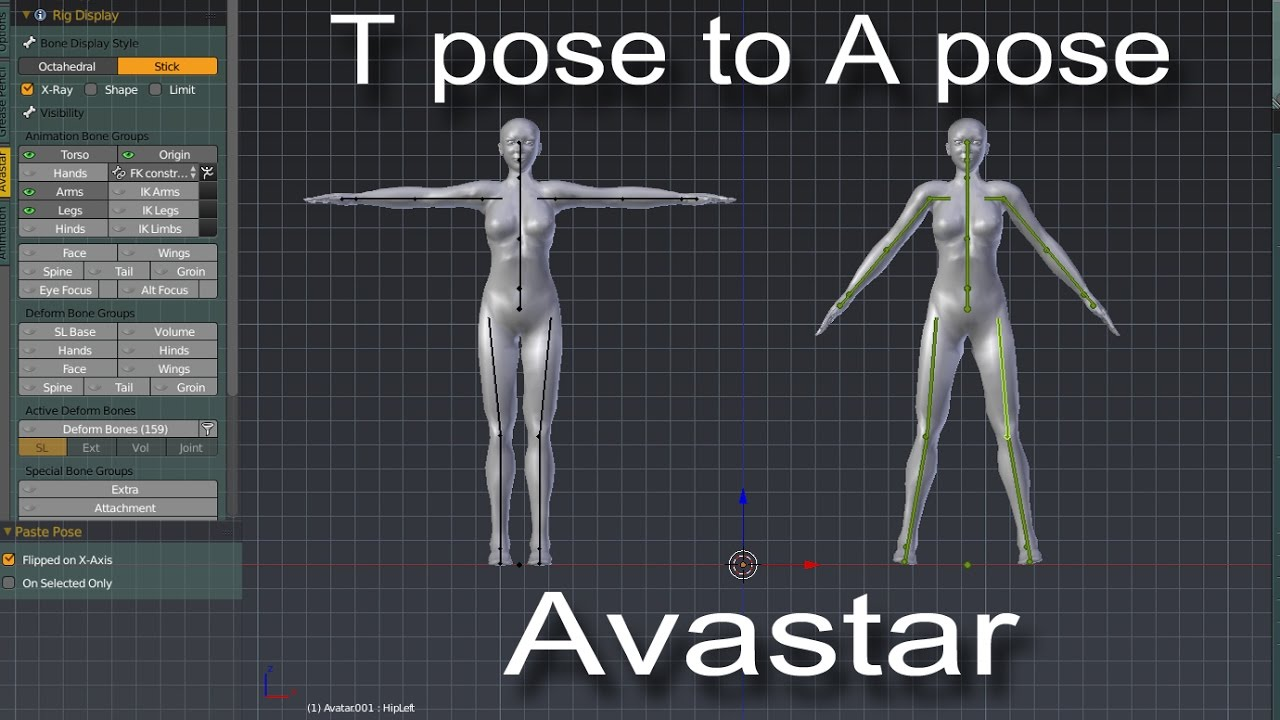 Tpose to Apose & Back in Avastar