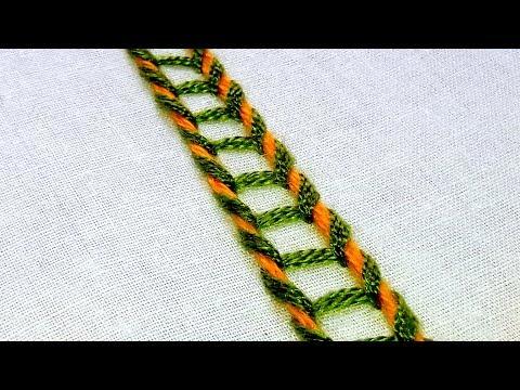 Hand Embroidery Sinhalese Chain Stitch Border Design 87