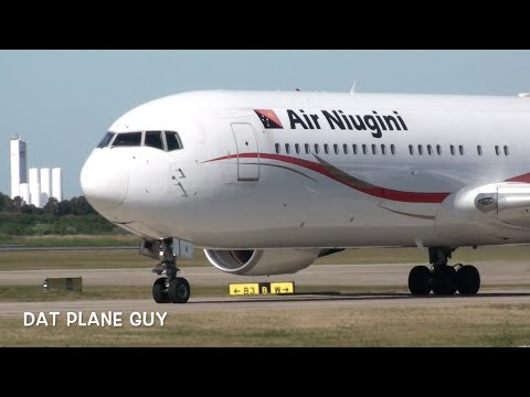 Air Niugini Boeing 767-341(ER) Takeoff from Brisbane Airport