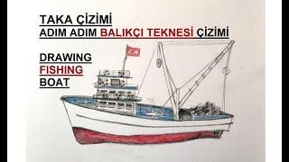 Taka çizimi / Balıkçı teknesi çizimi / Adım adım kolay balıkçı taka çizimi kolay karakalem