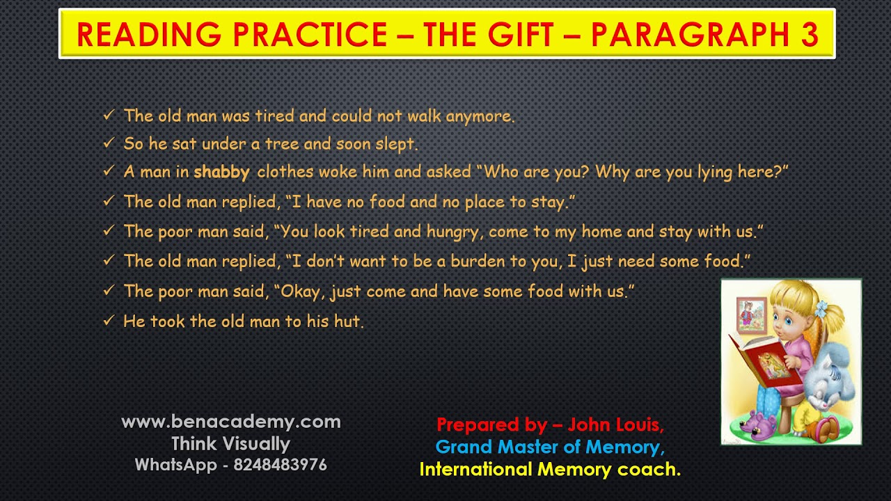 - 5th STD English Term 2 Reading Practice The Gift Paragraph 3 Page