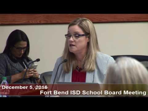 December 5, 2016 FBISD School Board Meeting Part 1