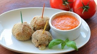 "Baked Eggplant ""meatballs"" With Fresh Tomato Sauce Dip Recipe"
