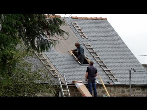 Re-Slating Roof. Brittany, France October 2012