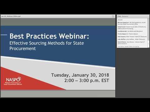 2018 Best Practices Webinar: Effective Sourcing Methods for State Procurement