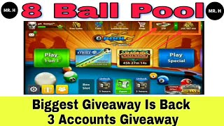 8 Ball Pool Biggest Giveaway Is Back 250M Coin + 2 Legendary Cue 👍 [ 3 Account Giveaway ] By Mr.H