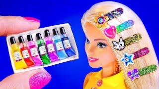 18 DIY BARBIE HACKS ~ Miniature Hair Clips, Acrylic Paint Set, Dog Carrier Bag AND MORE!