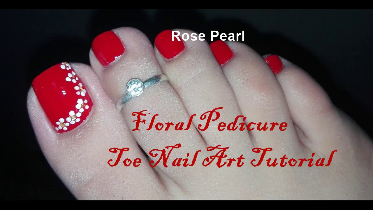 Cute And Easy Flower Toe Nail Art