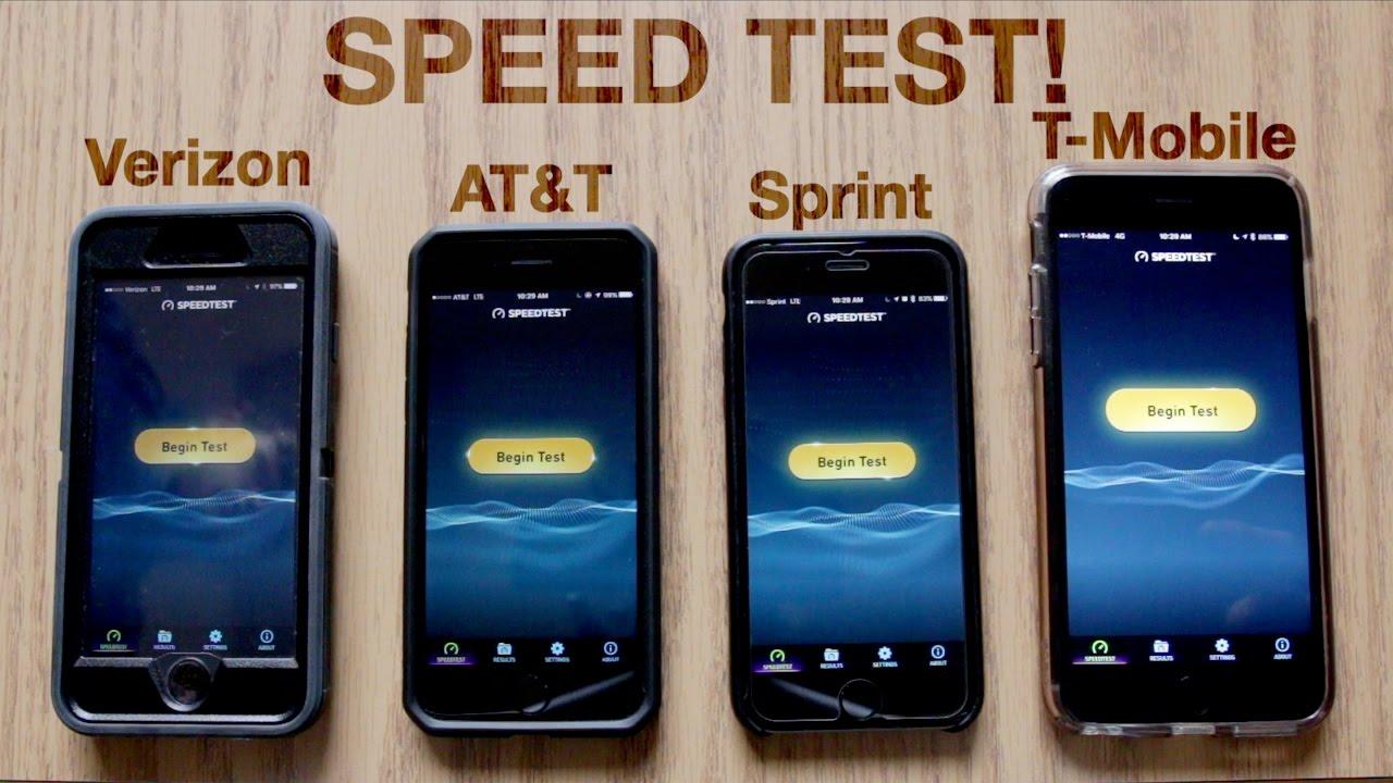 Verizon Vs At T Vs Sprint Vs T Mobile Speed Test