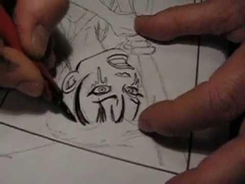 Graphic novel artist SUSSI BECH inking Nofret