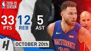 Blake Griffin SICK Highlights Pistons vs Bulls 2018.10.20 - 33 Pts, 12 Reb, 5 Ast