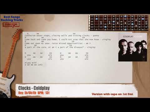 Clocks Coldplay Guitar Capo Backing Track With Chords And Lyrics