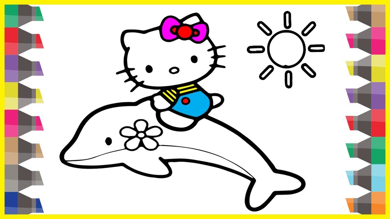 HELLO KITTY Coloring Pages With Dolphin